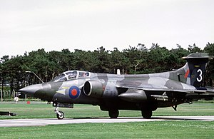 Blackburn Buccaneer - A 208 Sqn. RAF Buccaneer S.2B in 1981.  Wrap-around camouflage was applied, as it would often be observed while manoeuving at low levels.