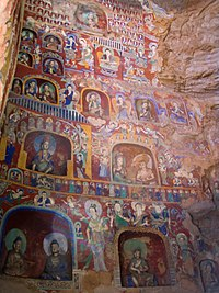 Northern Wei wall murals and painted figurines from the Yungang Grottoes, dated 5th to 6th centuries.