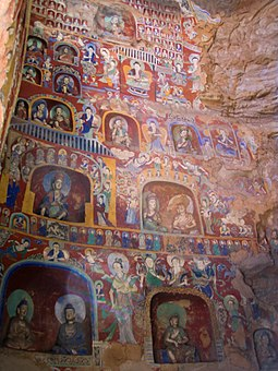 Northern Wei wall murals and painted figurines from the Yungang Grottoes Buddhist paintings Yungang.jpg