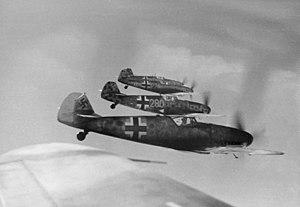 Josef Bryks - A formation of Messerschmitt Bf 109 fighters