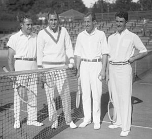 The 1930 runner-up American Davis Cup team, from left: Francis Hunter (US Indoors champion, absent), Bill Tilden (Wimbledon champion and Roland Garros finalist), and Wilmer Allison with John Van Ryn (Wimbledon doubles champions, US finalists)