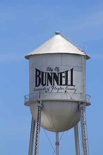National Register of Historic Places listings in Flagler County, Florida - Image: Bunnell Water Tower West Side View of Elevated Tank