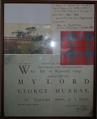 Lord George Murray (general) - Announcement of burial of Lord George Murray.