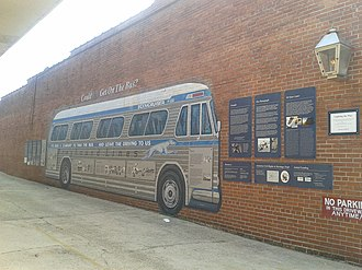 Freedom Riders National Monument - Image: Bus mural and signage, Freedom Riders National Monument