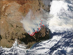 2002–03 Australian bushfire season - Satellite image of South-eastern Australia, showing the Eastern Victorian alpine fires on 22 January 2003