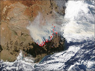 2003 Eastern Victorian alpine bushfires - NASA photo of South-eastern Australia showing fire activity on 22 January 2003