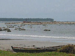 Stranded boats and raised reefs at Busung, Gusong Bay, Simeulue, Indonesia, 8 April 2005