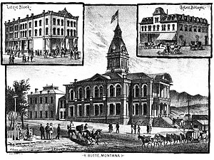 Butte, Montana - Butte courthouse and additional buildings, 1885.