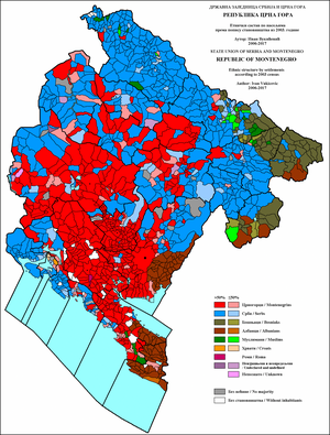 Demographics of Montenegro - Ethnic structure of Montenegro by settlements 2003.