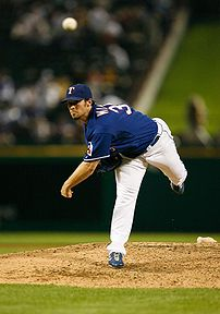 CJ Wilson of the Texas Rangers pitching
