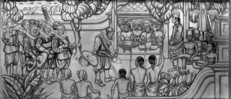 First Dutch Expedition to Nusantara - Wandschildering 'La réception de Cornelis de Houtman a Java en 1595' door Paulides in het Nederlandse paviljoen op de Koloniale Wereldtentoonstelling in Parijs, foto KIT.