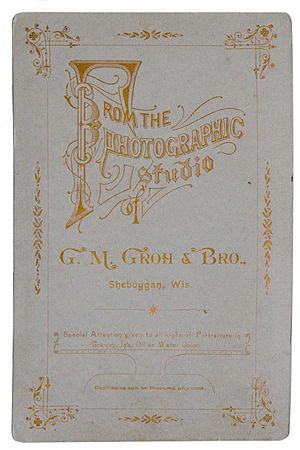 Cabinet card - The reverse side of the card as seen above.