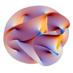 W teorii strun przestrzeń ma więcej niż 3 wymiary, ale dodatkowe wymiary są zwinięte do mikroskopijnych rozmiarów, jak na przedstawionej tutaj rozmaitości Calabi-Yau.