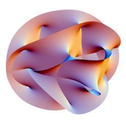 Projection of a Calabi-Yau manifold, one of the ways of compactifying the extra dimensions posited by string theory