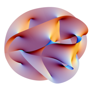Quantum gravity - Projection of a Calabi–Yau manifold, one of the ways of compactifying the extra dimensions posited by string theory