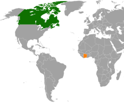 Map indicating locations of Canada and Ivory Coast