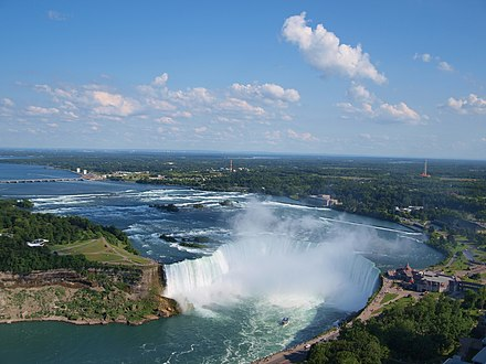 Erosion of dolomite over weaker shale created the Niagara Escarpment. Canadian Horseshoe Falls with city of Niagara Falls, Ontario in background.jpg