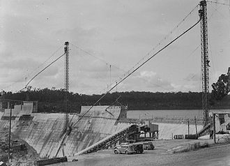 Canning Dam - Construction of dam wall, 1939