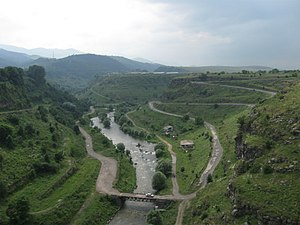 Dzoraget River - The Dzoraget River as seen from the bridge in Stepanavan