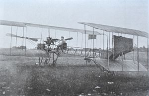 Caproni Ca.1 (1910) - Rear view of Gianni Caproni's first experimental biplane, the Caproni Ca.1, in Malpensa (Varese) in 1910.
