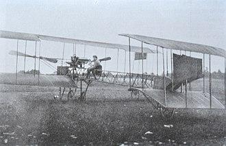 Caproni Ca.1 (1910) - Rear view of Gianni Caproni's first experimental biplane, the Caproni Ca.1, in Malpensa (Varese) in 1910.