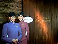 Cardboard cut-out of China Airlines crew at the entrance of the carrier's Taipei-Taoyuan Terminal 1 lounge..JPG