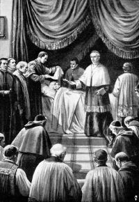 Cardinal Camerlengo certifying a papal death.JPG