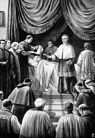 Papal conclave - The Cardinal Camerlengo proclaims a papal death