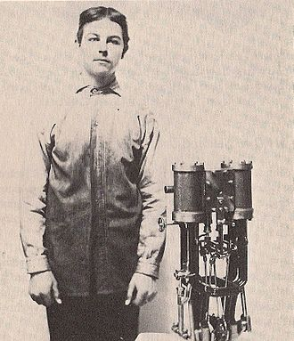 Carl Breer - Carl Breer (1900, age 17) with homemade two cylinder steam engine for his 1901 car