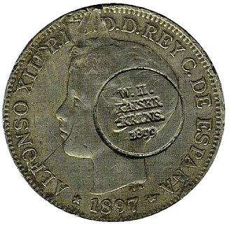 Caroline Islands - Spanish currency used in the Caroline Islands at the end of the 19th century. Note the German circular punch, made following the Spanish cession of the islands to Germany in 1899.