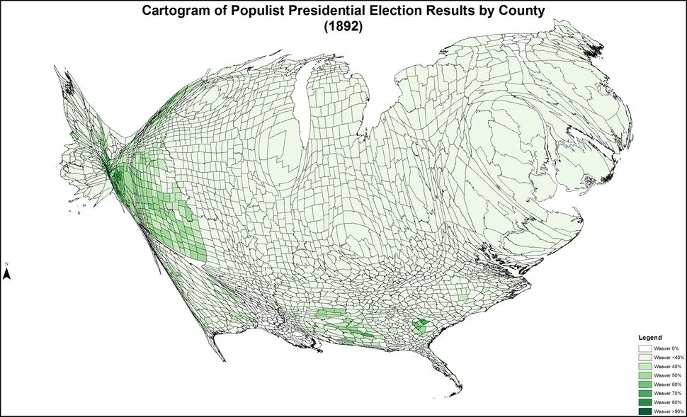 CartogramPopulistPresidentialCounty1892Colorbrewer
