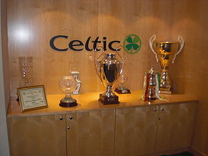 Lisbon Lions - A display of some of Celtic's trophies, with the 1967 European Cup featuring prominently