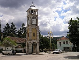 Chuprene - The central square in Chuprene with the clock tower, the church and the school