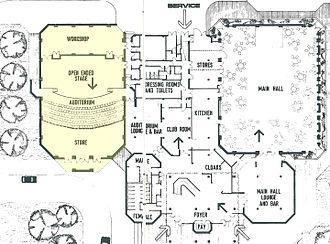 New Victoria Theatre - Image: Centre Halls ground plan 1975