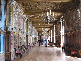 Palace of Fontainebleau - The Gallery of Francis I, connecting the King's apartments with the chapel, decorated between 1533 and 1539. It introduced the Italian Renaissance style to France.