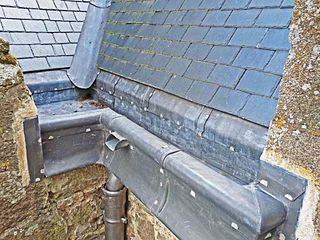 Rain gutter component of a roof system which collects and diverts rainwater