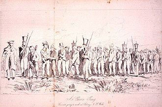 Chain gang - 1842 illustration of chain gang going to work near Sydney, New South Wales, Australia