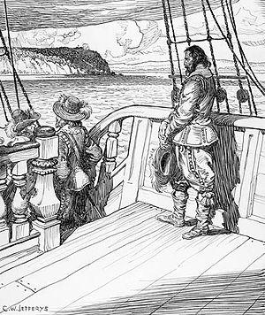 David Kirke - Champlain leaves Quebec as a prisoner aboard Kirke's ship, after a bloodless siege in 1629. Image by Charles William Jefferys, 1942.
