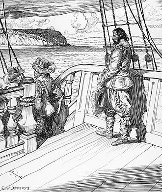David Kirke - Champlain leaves Quebec as a prisoner aboard Kirke's ship, after a bloodless siege in 1629. Image by Charles William Jefferys, 1942.