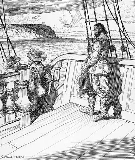 Champlain Leaving Quebec, a Prisoner on Kirk%E2%80%99s Ship, 1629