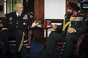 Bikram Singh (general) - Chief of Staff of the United States Army, Gen. Raymond T. Odierno speaks with Gen. Bikram Singh, chief of staff of the Indian Army, during an office call to the Pentagon in Washington