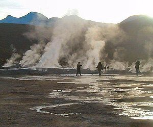 Geothermal power in Chile - View of the Geysers of El Tatio