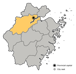 Location o Hangzhou Ceety jurisdiction in Zhejiang