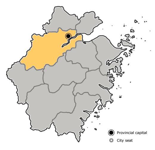 Location of Hangzhou City jurisdiction in Zhejiang