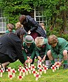 Chinthurst School pupils push commemorative crosses into lawn.jpg