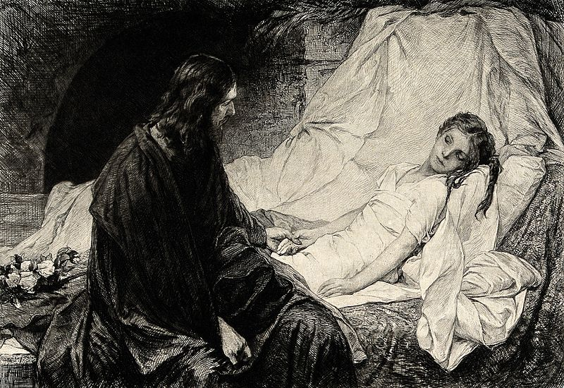 File:Christ sits at the bedside of Jairus's sickening daughter. E Wellcome V0034923.jpg
