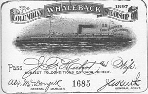 Ticket (admission) - Image: Christopher Columbus whaleback pass