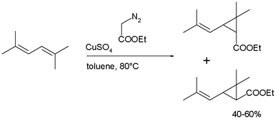 Chrysanthemic ester synthesis
