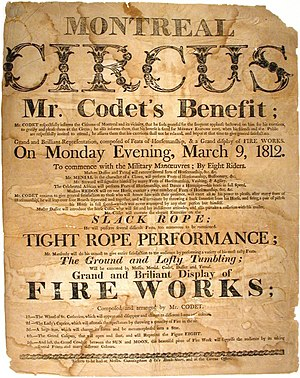 Circus of Pepin and Breschard - Montreal Circus, Mr. Codet's Benefit. One of Pépin and Breschard's Companies. 1812.