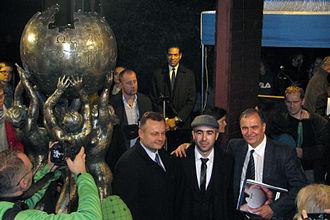Mihran Hakobyan - Mihran Hakobyan with the mayor of Słubice Tomasz Ciszewicz and Krzysztof Wojciechowski